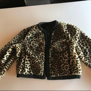 Vintage leopard print open sweater coat- S